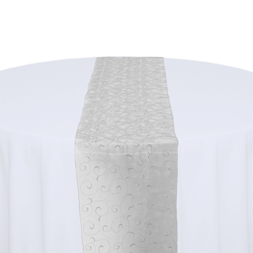 White Organza Swirl Table Runner Rental
