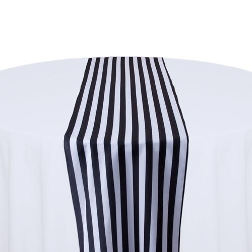 Black & White Polyester Stripe Table Runner Rental Black & White Polyester Stripe Table Runner Rental