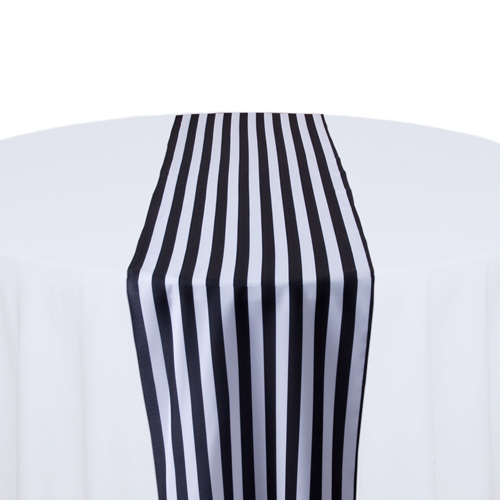 Black & White Polyester Stripe Table Runner Rental