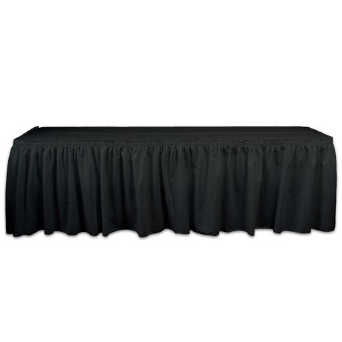 Black Solid Polyester Table Skirting Rental Black Solid Polyester Table Skirting Rental