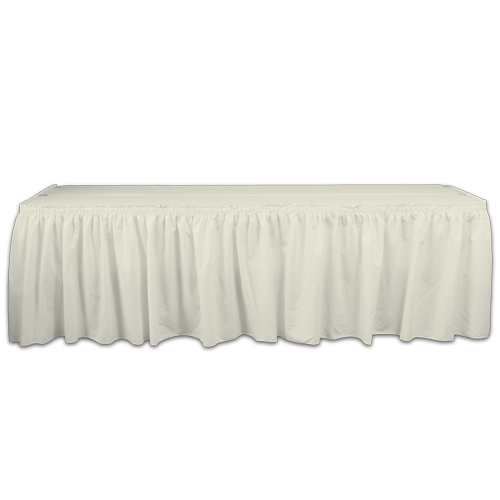 Ivory Solid Polyester Table Skirting Rental Ivory Solid Polyester Table Skirting Rental