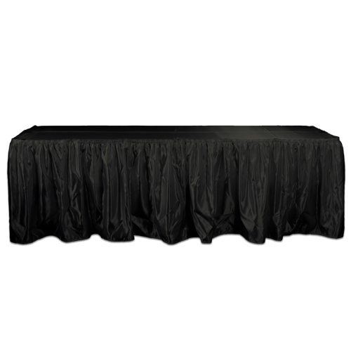 Black Table Skirt Rental - Polyester Satin Black Polyester Satin Table Skirting Rental