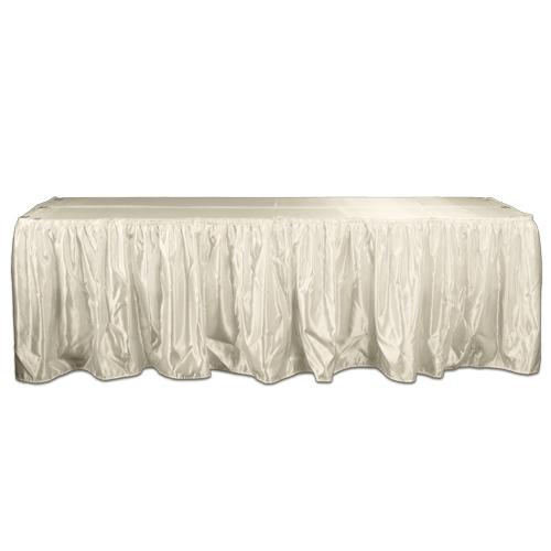 Ivory  Satin Table Skirting Rental Ivory Polyester Satin Table Skirting Rental