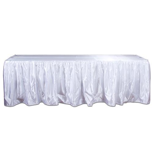 White Satin Table Skirting Rental White Polyester Satin Table Skirting Rental