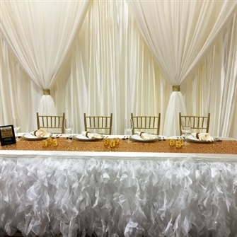 Ivory Organza Tutu Table Skirting Rental