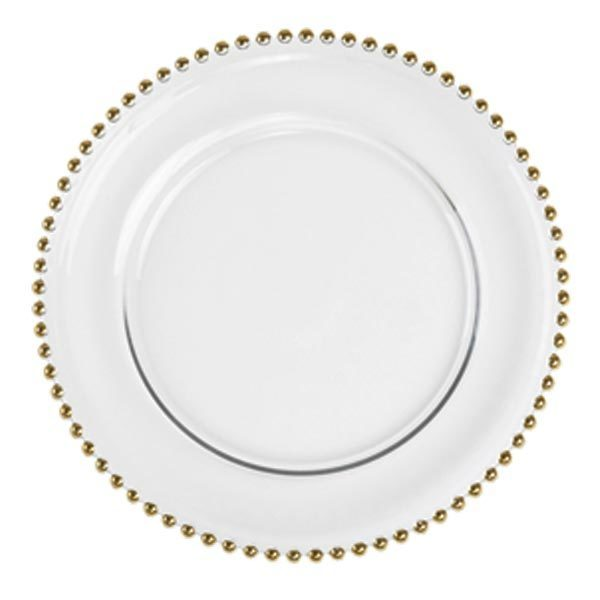 Glass Charger Plates - Gold Beaded Rim Glass Charger Plates - Gold Beaded Rim