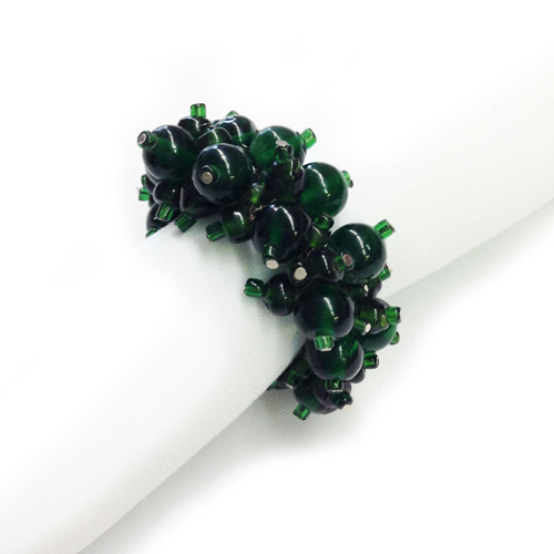 Green Beaded Napkin Rings