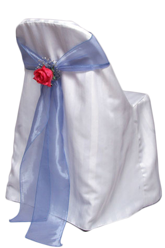 White Folding Chair Cover Rentals - Satin Stripe