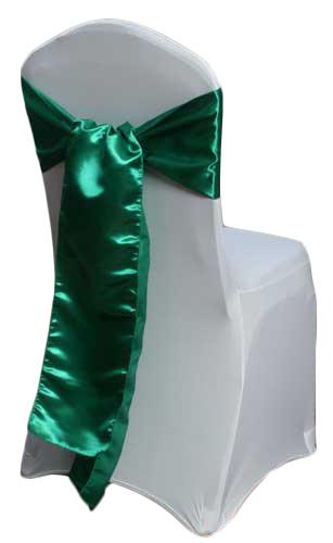 Emerald Satin Chair Sashes Emerald Polyester Satin Sash Rental