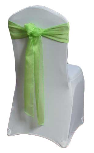 Lime Green Organza Sheer Chair Sashes Lime Green Organza Sheer Sash Rental