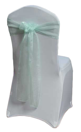 Mint Green Organza Sheer Chair Sashes Mint Green Organza Sheer Sash Rental