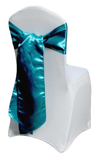 Teal Satin Chair Sashes (Light) Light Teal Polyester Satin Sash Rental