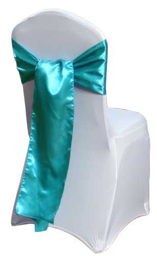 Turquoise Satin Chair Sashes Turquoise Polyester Satin Sash Rental