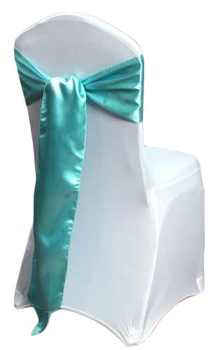 Turquoise Satin Chair Sashes (Light) Turquoise Light Polyester Satin Sash Rental