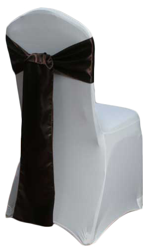 Brown Satin Chair Sash Rental Brown Polyester Satin Chair Sash Rental