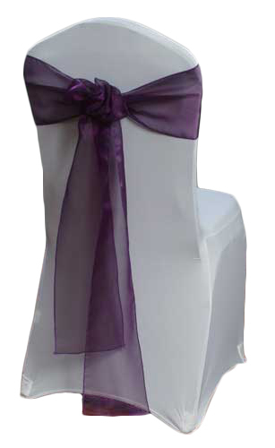 Eggplant Organza Sheer Chair Sashes Eggplant Organza Sheer Sash Rental