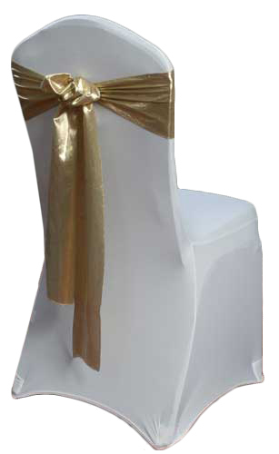 Gold Lamé Chair Sash Rental Gold Lamé Chair Sash Rental