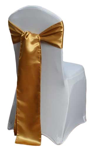 Gold Satin Chair Sash Rental Gold Polyester Satin Chair Sash Rental