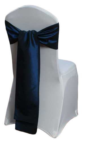 Midnight Blue Taffeta Chair Sashes Midnight Blue Taffeta Sash Rental