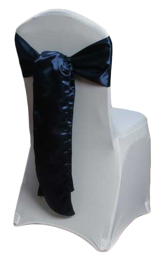 Navy Satin Chair Sashes Navy Polyester Satin Sash Rental