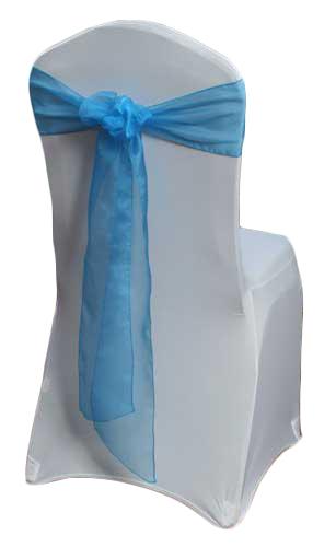 Ocean Blue Organza Sheer Chair Sashes Ocean Blue Organza Sheer Sash Rental