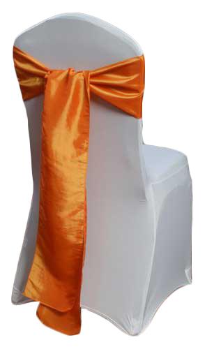 Orange Taffeta Chair Sash Rental