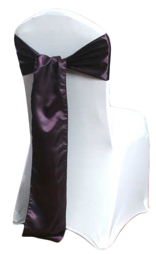 Plum Satin Chair Sashes Plum Polyester Satin Sash Rental