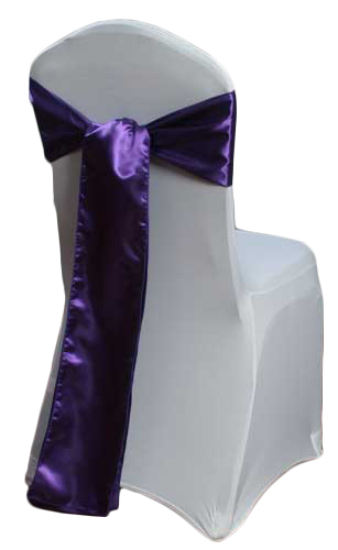 Purple Satin Chair Sashes Purple Polyester Satin Sash Rental