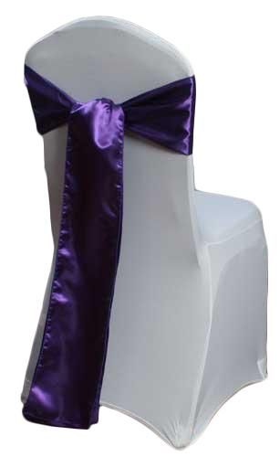 Purple Satin Chair Sashes