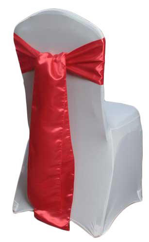 Red Satin Chair Sashes Red Polyester Satin Sash Rental