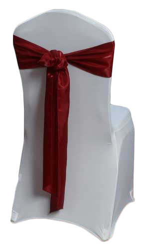 Red Raspberry Organza Satin Chair Sashes Red Raspberry Organza Satin Sash Rental