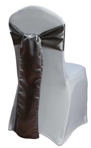 Silver Satin Chair Sash Rental Silver Polyester Satin Chair Sash Rental