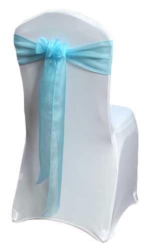 Tiffany Blue Organza Sheer Chair Sashes Tiffany Blue Organza Sheer Sash Rental