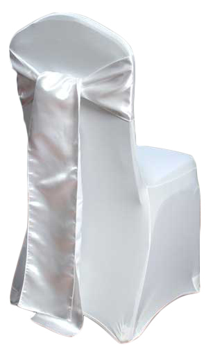 White Satin Chair Sash Rental White Polyester Satin Chair Sash Rental