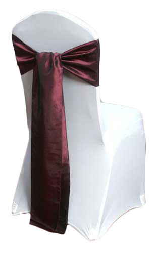 Wine Taffeta Chair Sashes