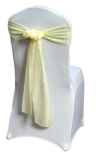 Yellow Organza Satin Chair Sashes Yellow Organza Satin Sash Rental