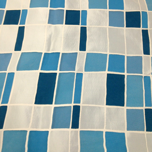 Mosaic over Turquoise Solid Polyester