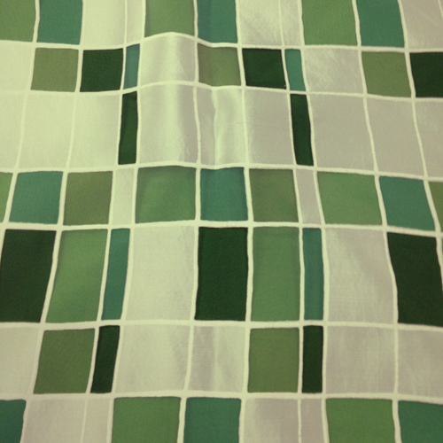Mosaic over Lime Green Solid Polyester