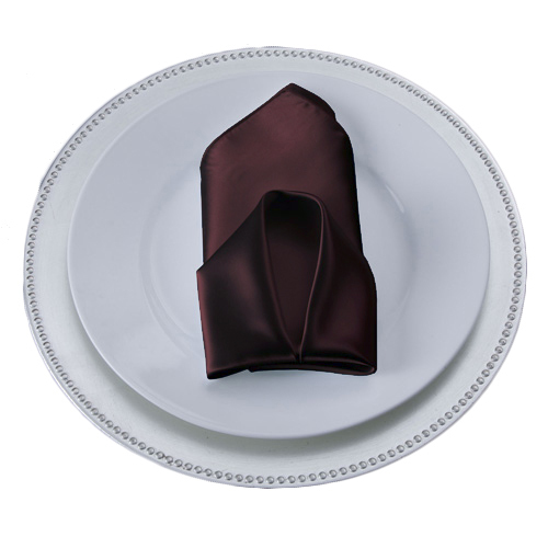 Brown Napkins Brown Polyester Satin Napkin Rental