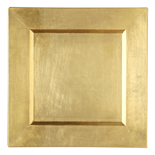Gold Charger Plates - Square Gold Square Charger Plate Rental