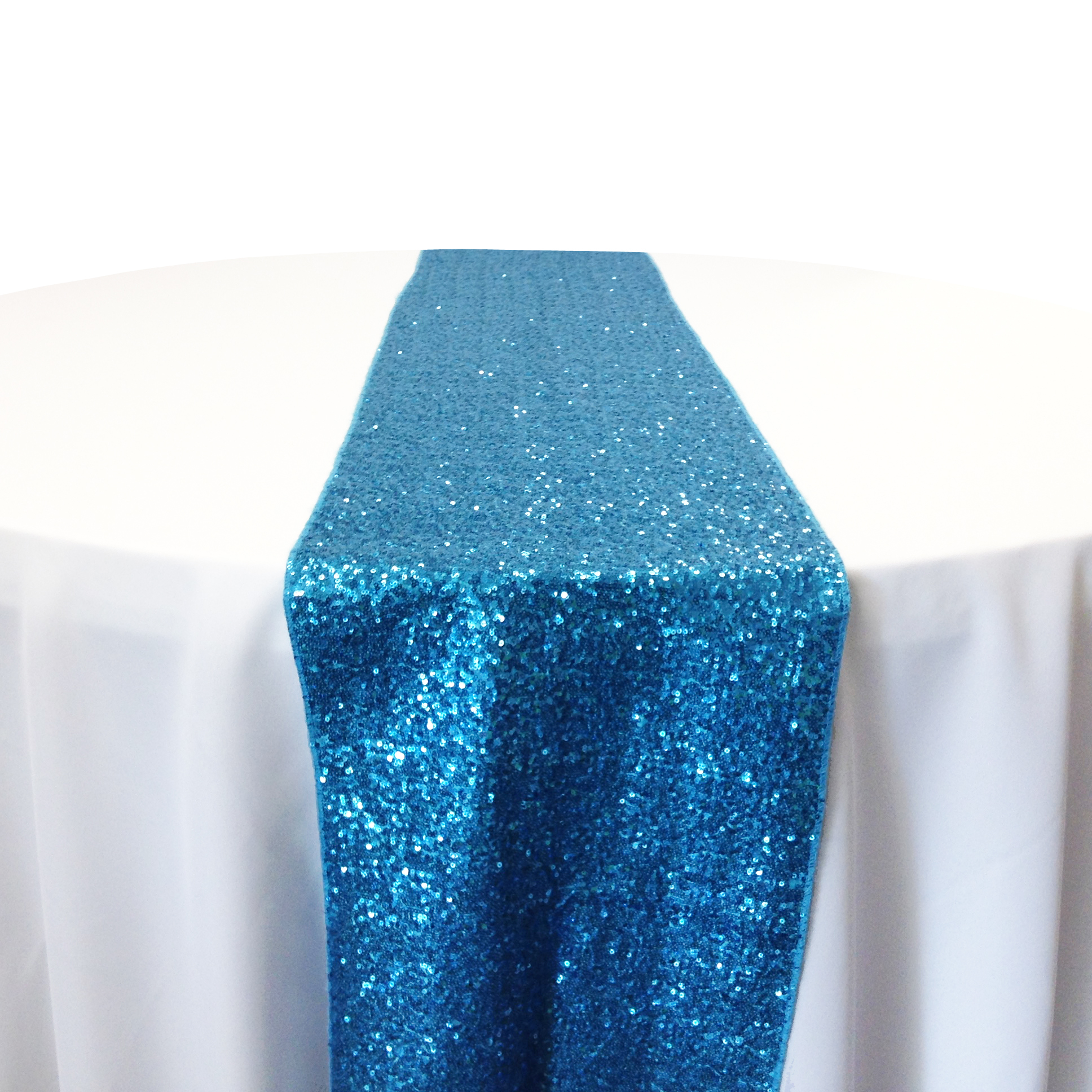 Aqua Taffeta Sequin Table Runner Rental Aqua Taffeta Glitz Table Runner Rental
