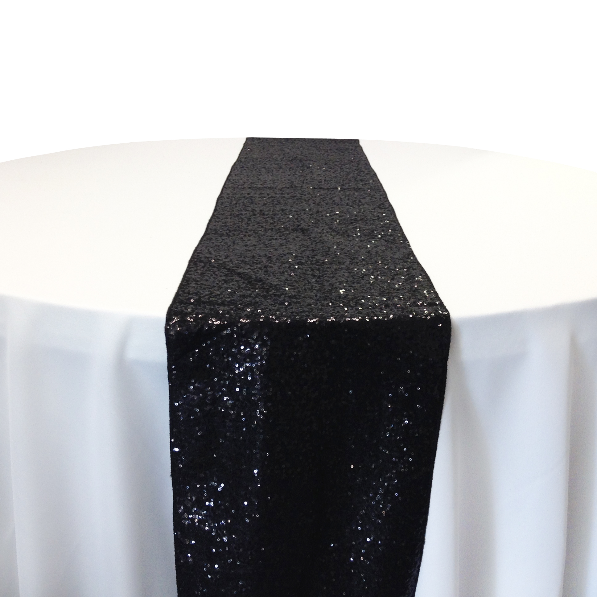 Black Taffeta Sequin Table Runner Rental Black Taffeta Glitz Table Runner Rental