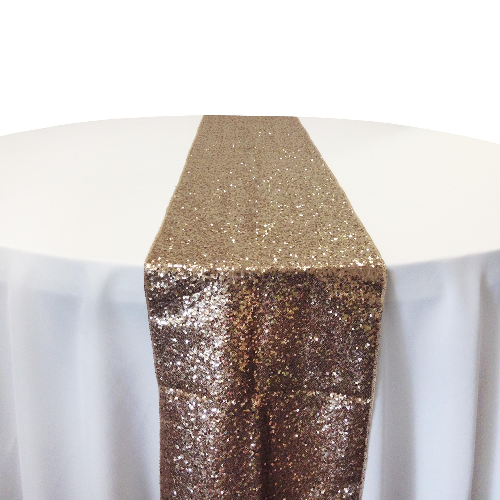Champagne Taffeta Glitz Table Runner Rental Champagne Taffeta Glitz Table Runner Rental
