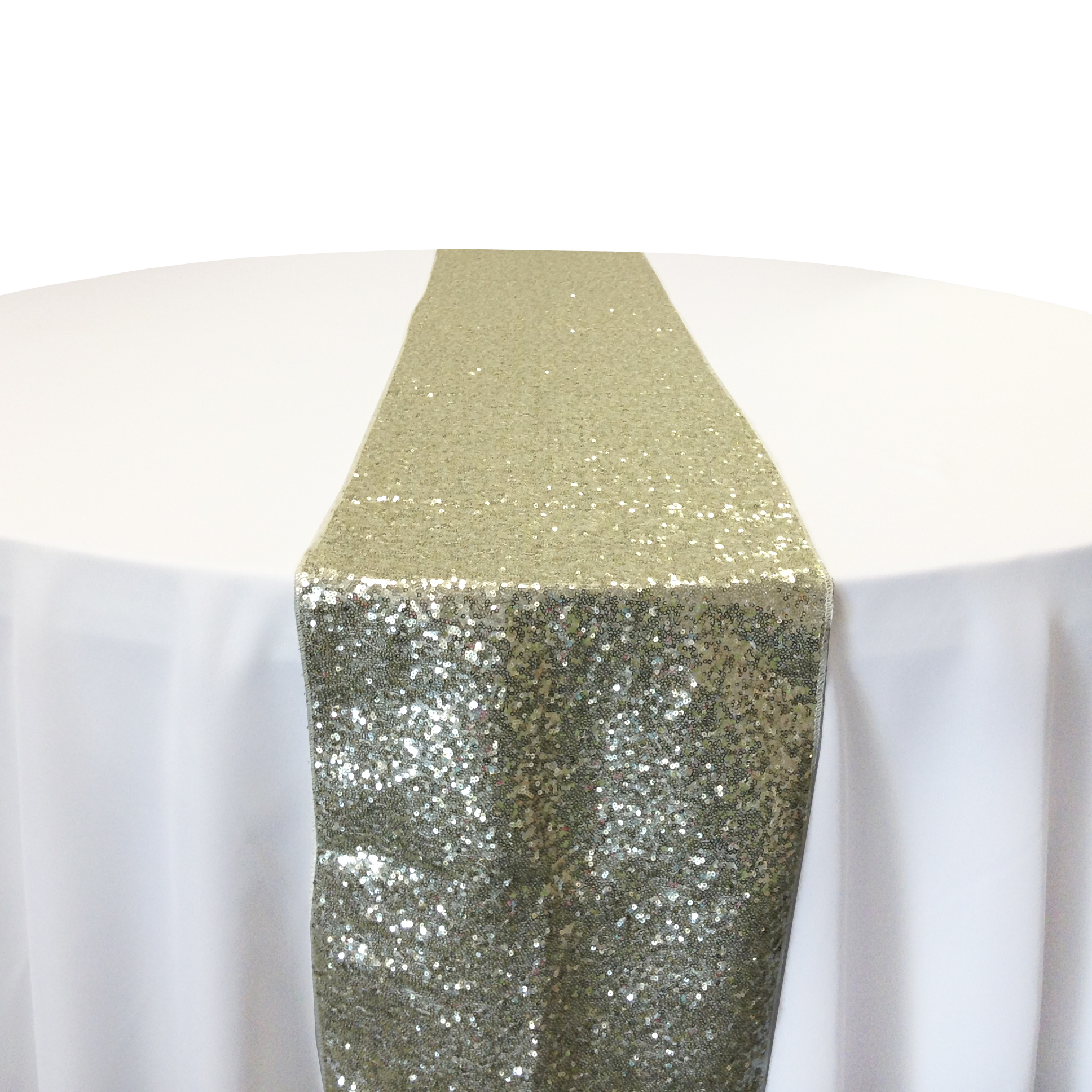 Ivory Taffeta Sequin Table Runner Rental Ivory Taffeta Glitz Table Runner Rental