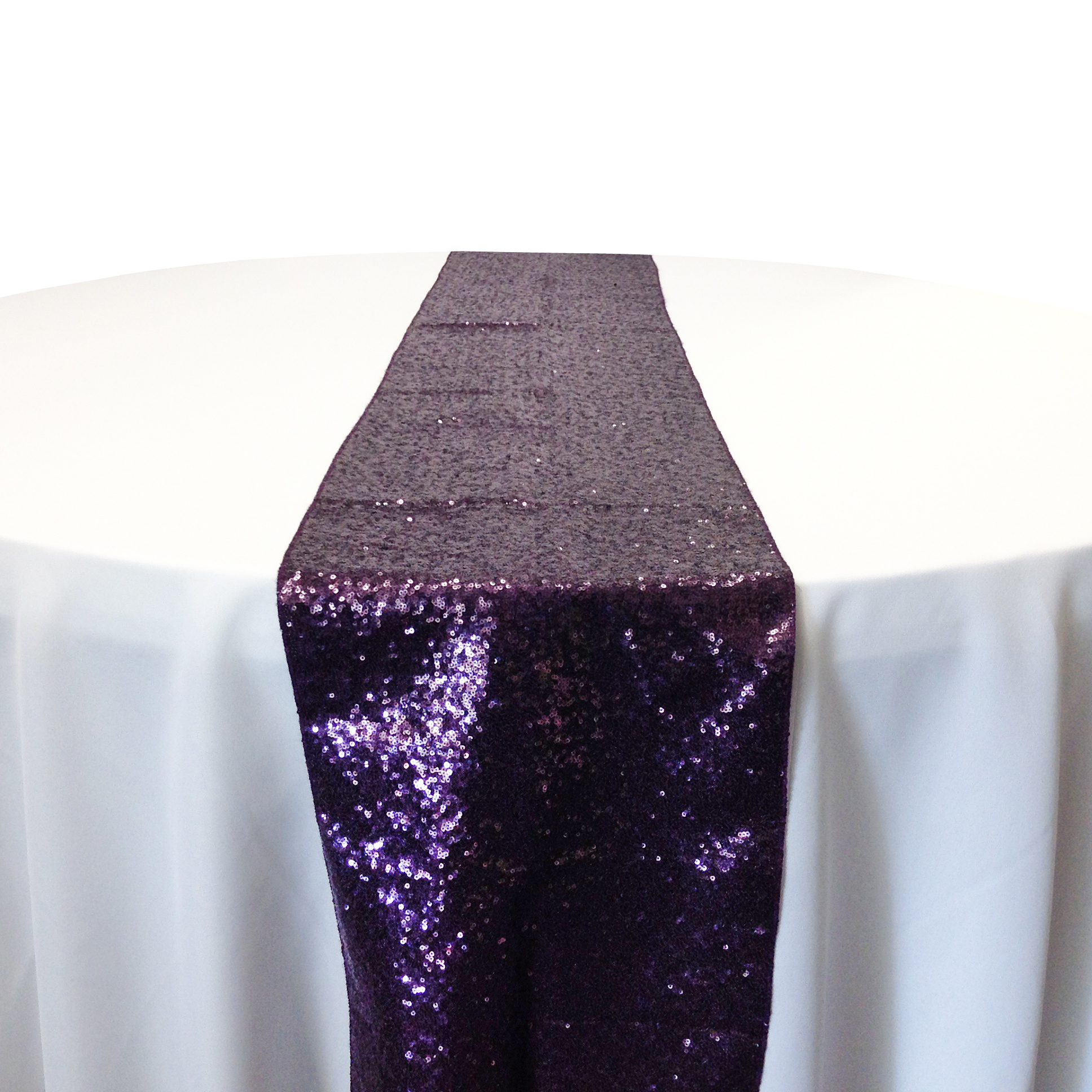 Plum Taffeta Sequin Table Runner Rental Plum Taffeta Glitz Table Runner Rental