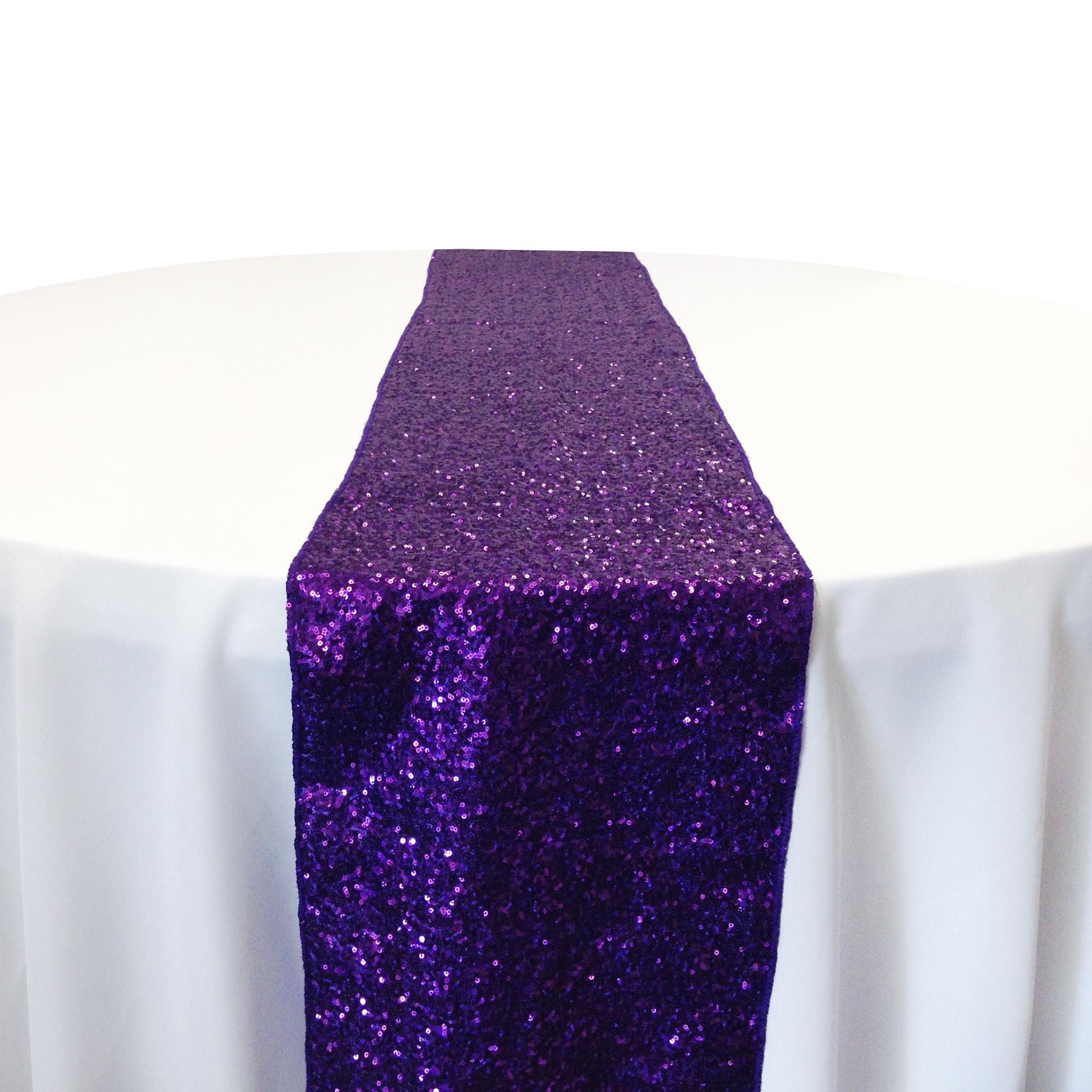 Purple Taffeta Sequin Table Runner Rental Purple Taffeta Glitz Table Runner Rental