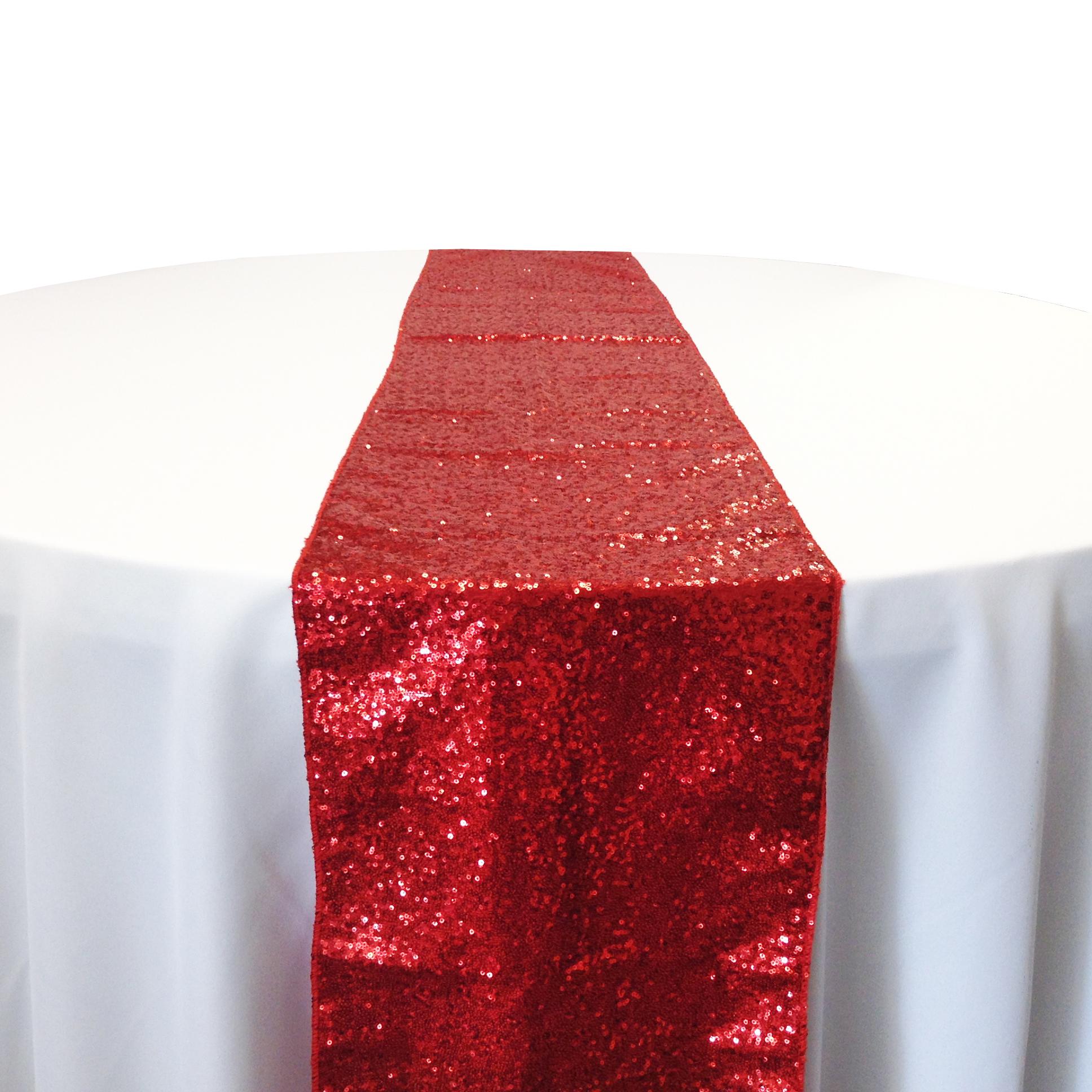 Red Taffeta Sequin Table Runner Rental Red Taffeta Glitz Table Runner Rental