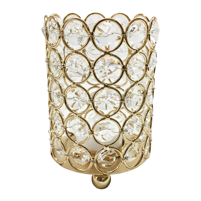 Medium Gold Crystal Gem Pillar Candle Holder Rental