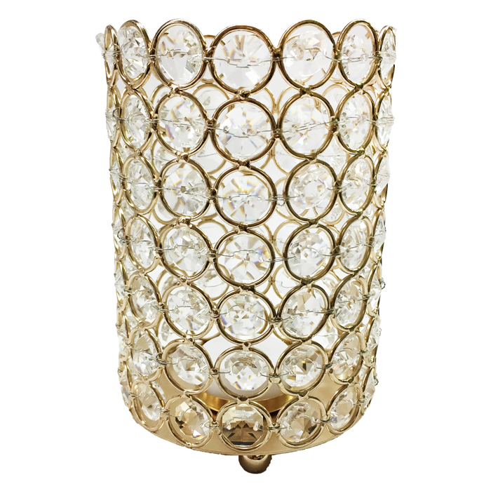 Large Gold Crystal Gem Pillar Candle Holder Rental