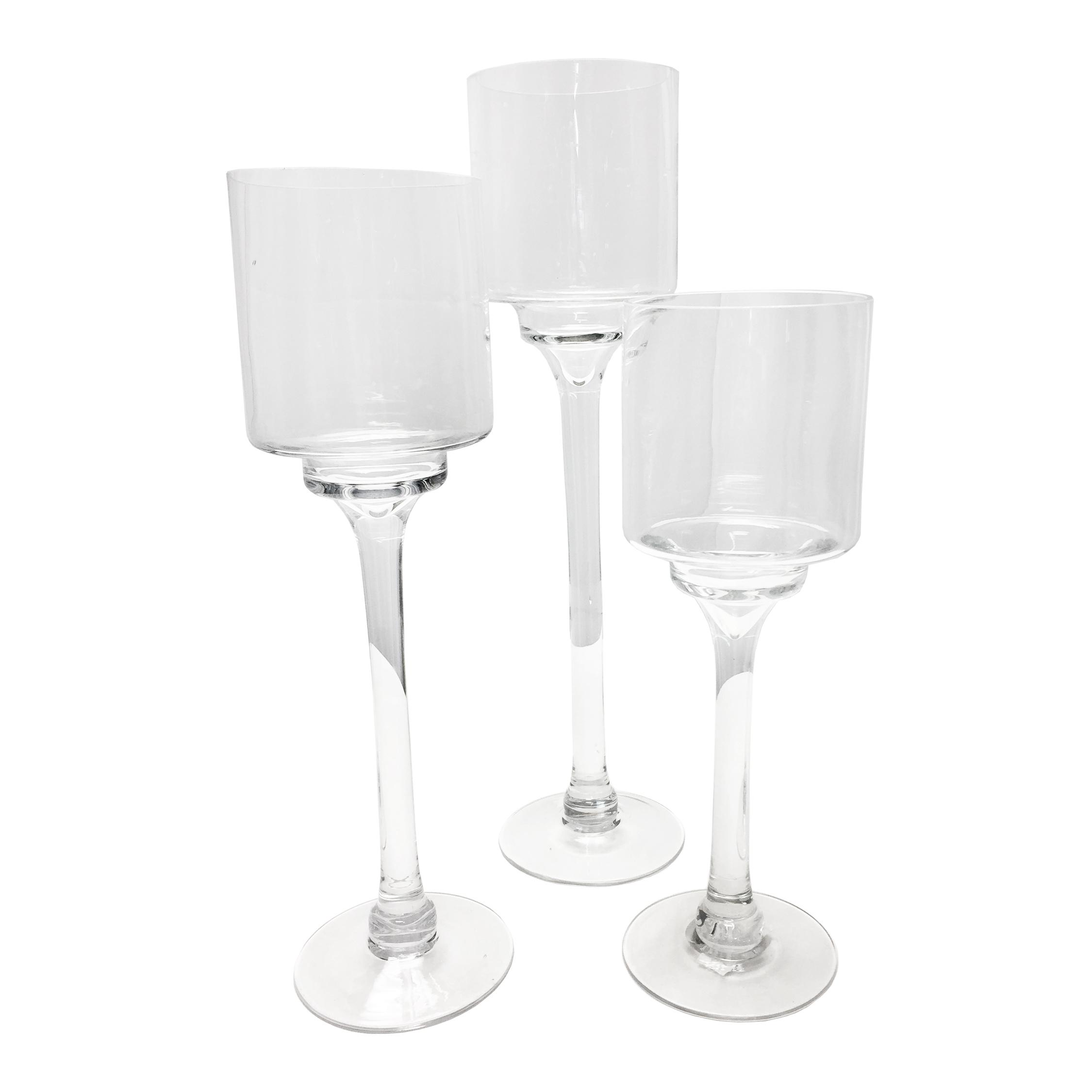 Glass Pedestal Candleholders, Set of 3 Glass Long-stem Candle Holders Rental